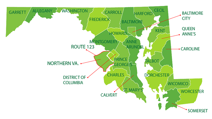 CareFirst BCBS service area map for MD, DC, VA