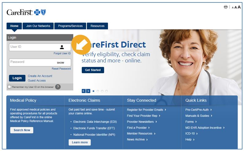 CareFirst Direct Log in to Provider Portal